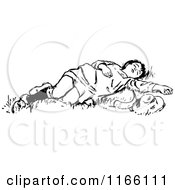 Clipart Of A Retro Vintage Black And White Boy Sleeping In Grass Royalty Free Vector Illustration
