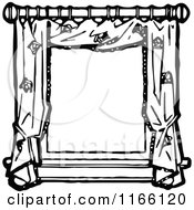 Clipart Of A Retro Vintage Black And White Frame Of Window Drapes Royalty Free Vector Illustration by Prawny Vintage