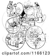 Clipart Of Retro Vintage Black And White Goldilocks And The Three Bears Scenes Royalty Free Vector Illustration