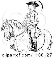Retro Vintage Black And White Boy On A Horse