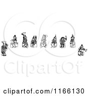 Clipart Of A Retro Vintage Black And White Group Of Boys Playing Instruments Royalty Free Vector Illustration by Prawny Vintage