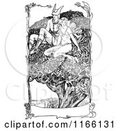Clipart Of A Retro Vintage Black And White Woman And Hermes In A Tree With A Banner Royalty Free Vector Illustration by Prawny Vintage