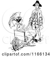 Clipart Of A Retro Vintage Black And White Man Pushing A Lady In A Rickshaw Royalty Free Vector Illustration by Prawny Vintage
