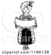 Clipart Of A Retro Vintage Black And White Arabian Boy Holding A Scroll Royalty Free Vector Illustration by Prawny Vintage