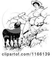 Clipart Of A Retro Vintage Black And White Boy Looking At A Black Sheep Royalty Free Vector Illustration by Prawny Vintage