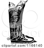 Clipart Of Retro Vintage Black And White Boys In A Boot Royalty Free Vector Illustration by Prawny Vintage