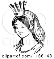 Clipart Of A Retro Vintage Black And White Princess Royalty Free Vector Illustration by Prawny Vintage
