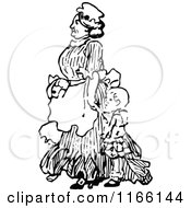Clipart Of A Retro Vintage Black And White Nanny And Child Royalty Free Vector Illustration