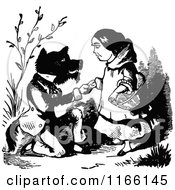 Retro Vintage Black And White Wolf And Red Riding Hood