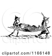 Clipart Of A Retro Vintage Black And White Boy Being Carried On A Stretcher Royalty Free Vector Illustration