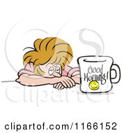 Cartoon Of A Tired Woman Glaring At A Good Morning Coffee Mug Royalty Free Vector Clipart by Johnny Sajem