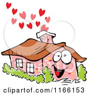 Happy Brick House Mascot With Hearts Rising From The Chimney