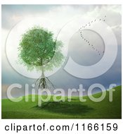 Clipart Of A 3d Uprooted Tree Floating Away With A Flock Of Birds In A Storm Royalty Free CGI Illustration by Mopic