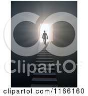 Clipart Of A 3d Silhouetted Man Walking Up Stairs To An Open Door With Bright Light 3 Royalty Free CGI Illustration