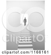 Clipart Of A 3d Silhouetted Man Walking Up Stairs To An Open Door With Bright Light Royalty Free CGI Illustration