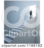 Clipart Of A 3d Silhouetted Man Walking Up Stairs To An Open Door With Bright Light 2 Royalty Free CGI Illustration