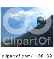 3d Man Pushing A Boulder Up A Steep Hill Against The Sky