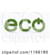 Clipart Of A 3d Grassy Eco Text With A Power Button On White Royalty Free CGI Illustration