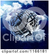 Clipart Of A 3d Globe Covered In Skyscrapers In A Cloudy Night Sky Royalty Free CGI Illustration by Mopic