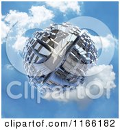 3d Globe Covered In Skyscrapers In A Cloudy Blue Sky