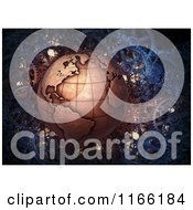 Clipart Of A 3d Copper Earth Over Gears Royalty Free CGI Illustration by Mopic