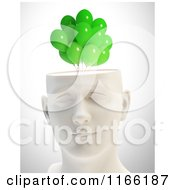 Clipart Of A 3d Male Head With Green Balloons Royalty Free CGI Illustration