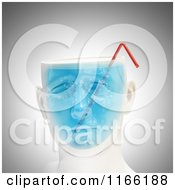 Clipart Of A 3d Male Head With Blue Liquid And A Straw Royalty Free CGI Illustration
