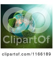 Clipart Of A 3d Earth With Grassy Green Recycle Arrows And Sunlight Royalty Free CGI Illustration by Mopic