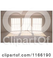 Clipart Of A 3d Room Interior With A Wall Of Windows Royalty Free CGI Illustration by Mopic