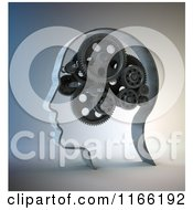 Clipart Of A 3d Gear Head Royalty Free CGI Illustration
