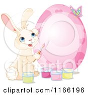 Cartoon Of A Cute Bunny Painting A Pink Easter Egg Frame Royalty Free Vector Clipart