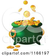 Cartoon Of Gold St Patricks Day Shamrock Coins Falling Into A Leprechaun Pot Royalty Free Vector Clipart by Pushkin