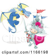Cartoon Of A Knight Boy Battling A Dragon Near A Castle Royalty Free Vector Clipart by Pushkin