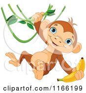 Cute Monkey Swinging From A Vine With A Banana In Hand