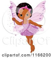 Cartoon Of A Cute Black Fairy Girl Holding A Magic Wand Royalty Free Vector Clipart