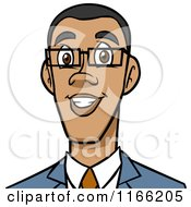 Cartoon Of A Black Business Man Avatar Royalty Free Vector Clipart