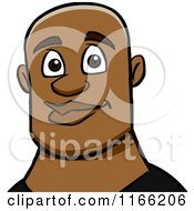 Cartoon Of A Bald Black Man Avatar Royalty Free Vector Clipart by Cartoon Solutions
