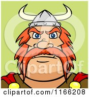 Cartoon Of A Viking Man Avatar On Green Royalty Free Vector Clipart