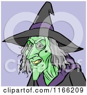 Cartoon Of A Witch Avatar On Purple Royalty Free Vector Clipart