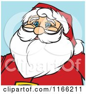 Cartoon Of A Santa Christmas Avatar On Blue Royalty Free Vector Clipart