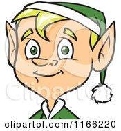 Cartoon Of A Male Christmas Elf Avatar Royalty Free Vector Clipart
