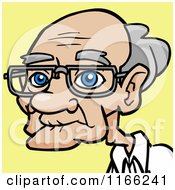 Bespectacled Old Man Avatar On Yellow 2