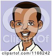 Cartoon Of A Young Black Man Avatar On Purple Royalty Free Vector Clipart