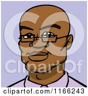 Cartoon Of A Bespectacled Bald Black Man Avatar On Purple Royalty Free Vector Clipart