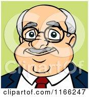 Cartoon Of A Bald Businessman Avatar On Green Royalty Free Vector Clipart