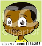 Cartoon Of A Black Boy Avatar Over Green Royalty Free Vector Clipart