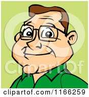 Cartoon Of A Bespectacled Man Avatar On Green 2 Royalty Free Vector Clipart