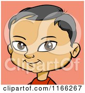 Cartoon Of An Asian Boy Avatar Over Pink Royalty Free Vector Clipart