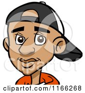 Cartoon Of A Black Teenage Boy Avatar With A Hat Royalty Free Vector Clipart