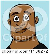 Cartoon Of A Bald Black Man Avatar On Blue Royalty Free Vector Clipart